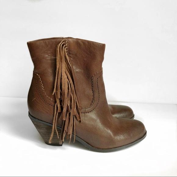 131b5bce3082 Sam Edelman Louie Brown Leather Fringe Booties. M 5b02171884b5ce1ef80dae1d
